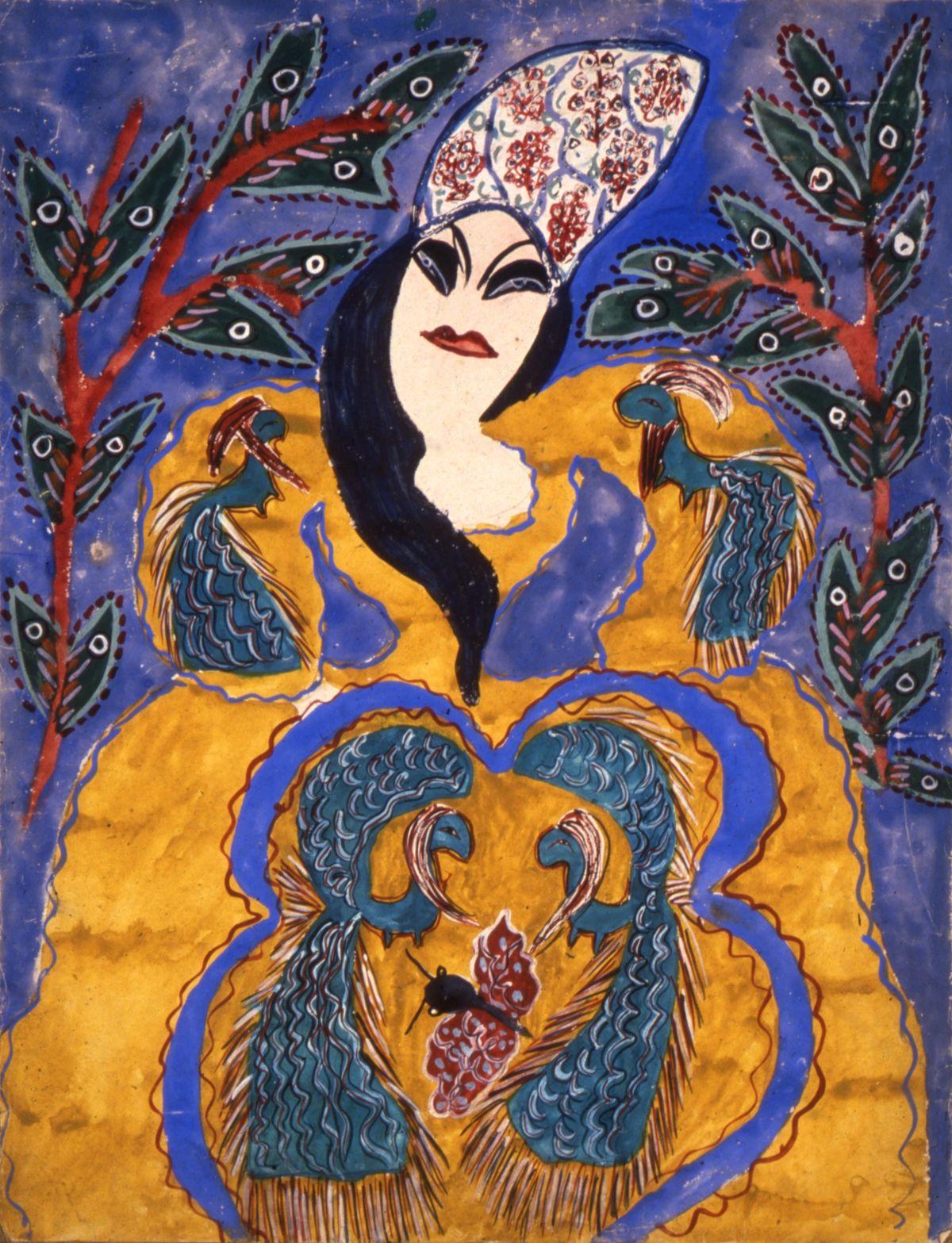 Femme Robe Jaune Cheveux Bleus - Baya