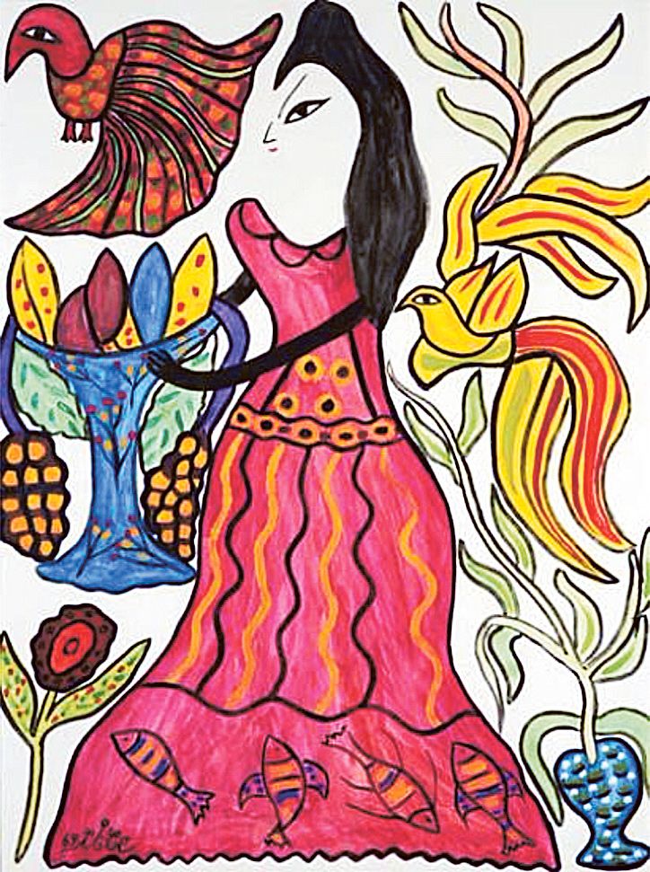 Femme au Paon et à la Coupe de Fruits by Baya, mixed media, 1969