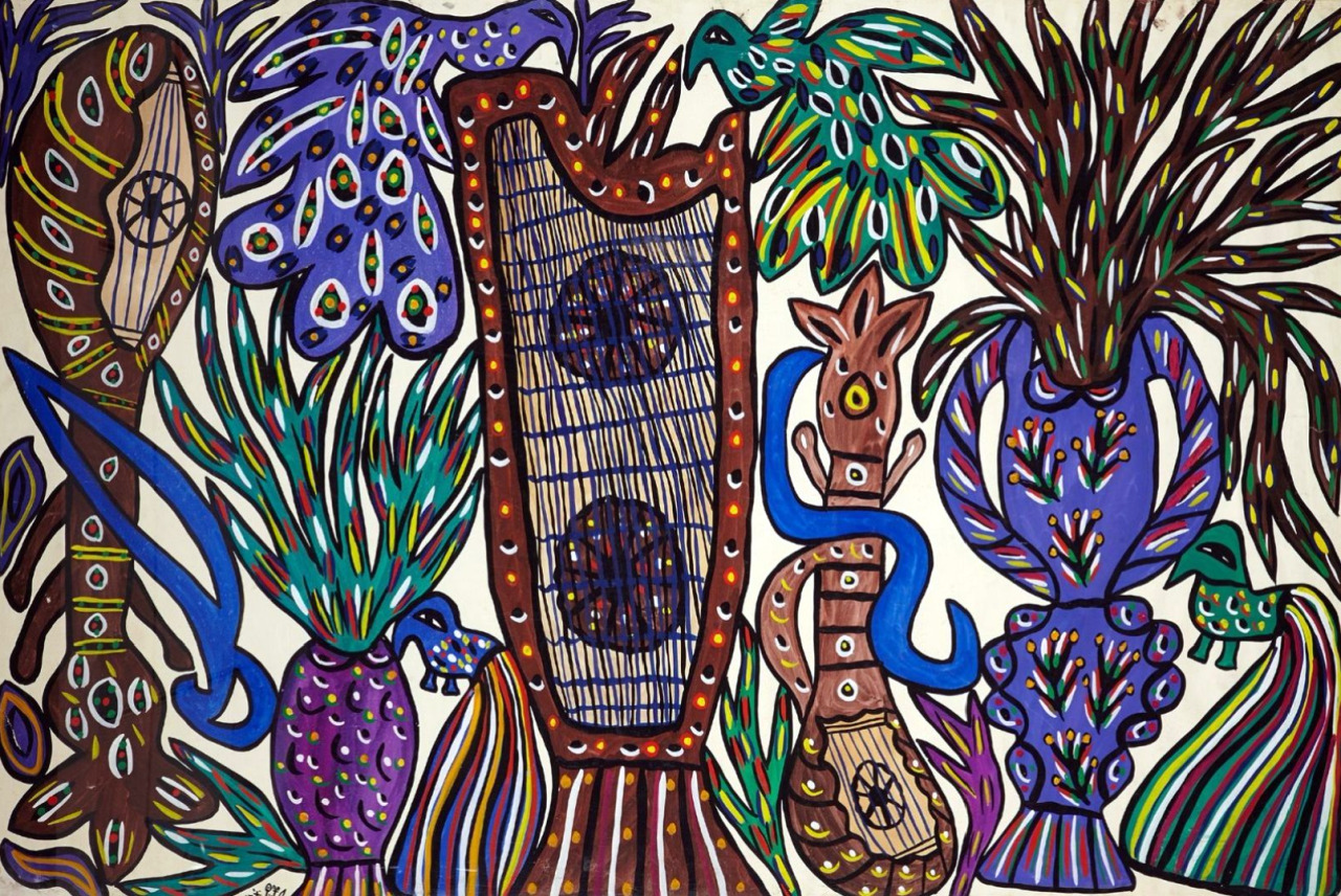 art-et-musique- Mahieddine Baya - La harpe, 1974