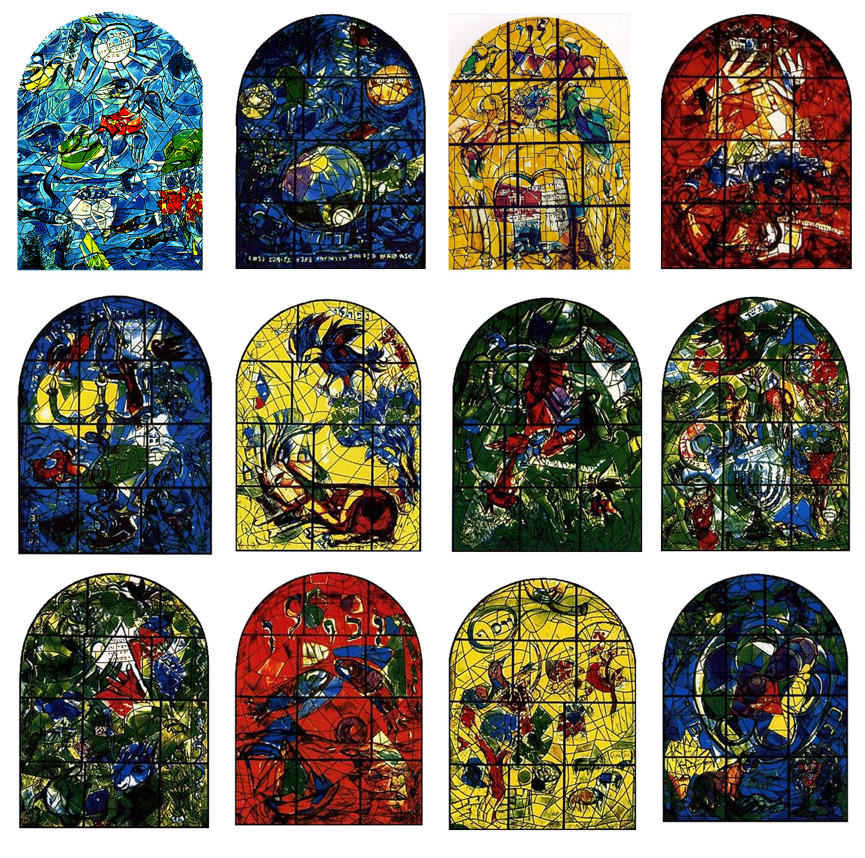 Designs for 12 Stained Glass Windows in Jerusalem ©marc chagall art