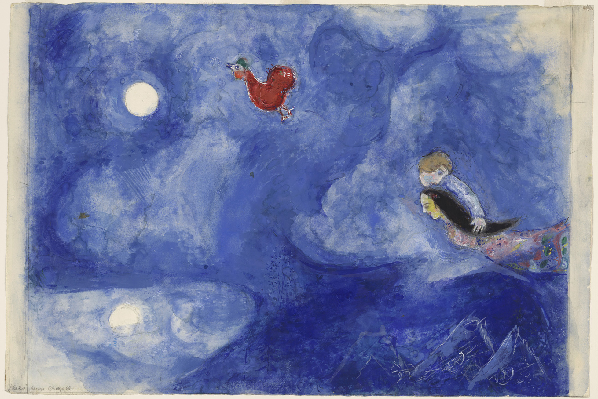 Aleko-and-Zemphira-by-Moonlight.-Study-for-backdrop-for-Scene-I - Marc Chagall