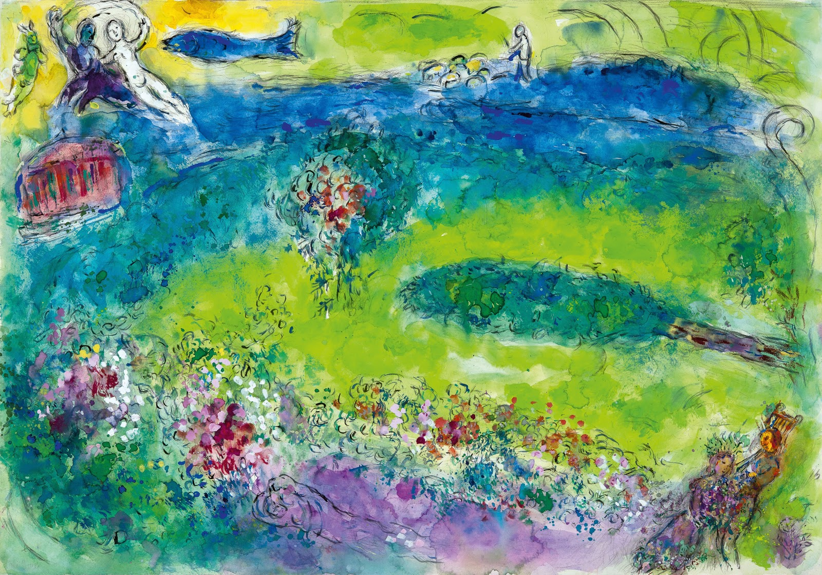 Backdrop for Daphnis and Chloe 1958 - Chagall