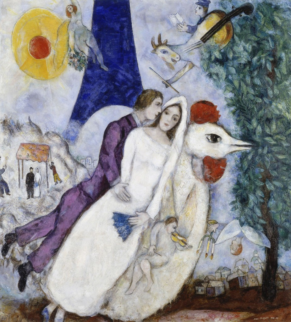 Bride and Groom of the Eiffel Tower - Marc Chagall