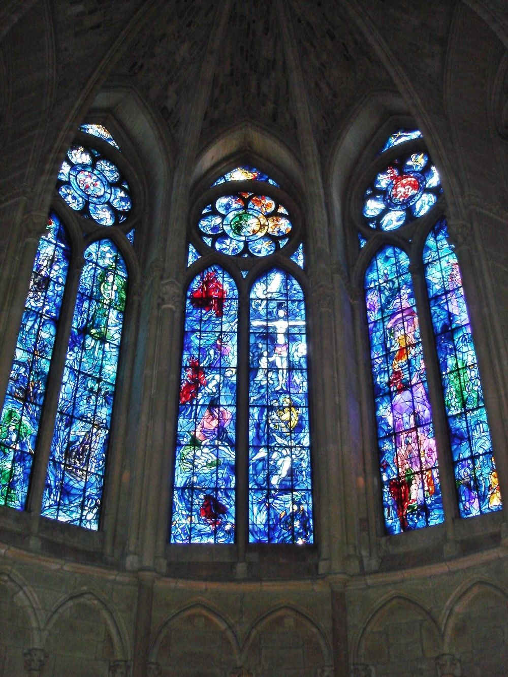 Chapel of Reims Cathedral in France, designed by Marc Chagall and made by Charles Marq in 1974. Credit- Peter Lucas