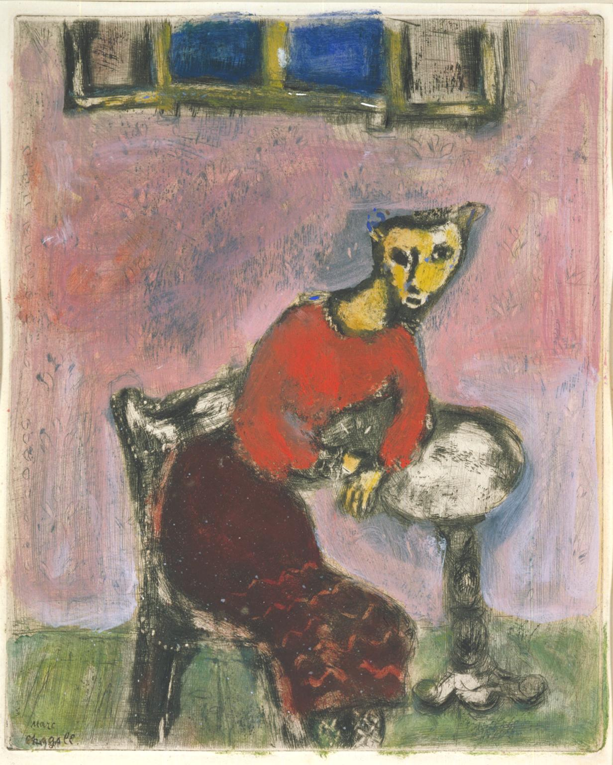 The Cat Transformed into a Woman c.1928-31-1947 by Marc Chagall