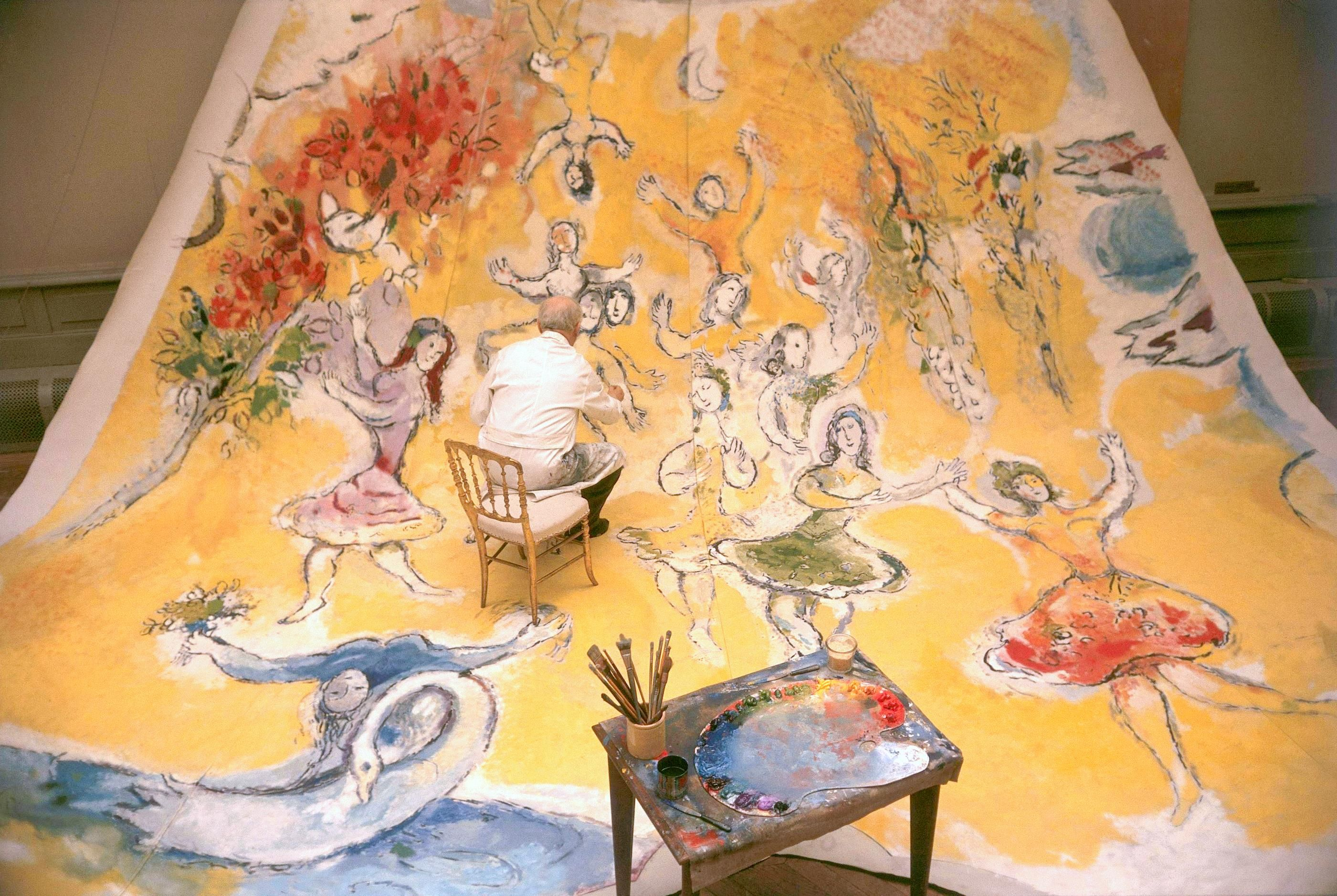 Marc Chagall working on the ceiling of the Paris Opera Tchaikovsky and Adam section