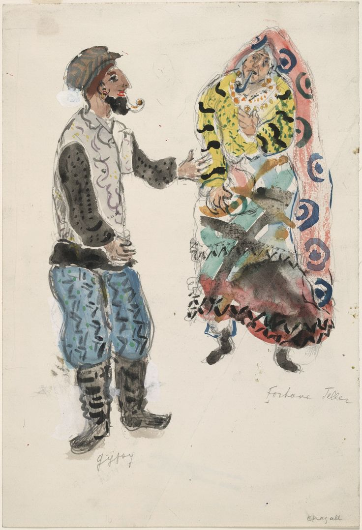 Marc Chagall. A Fortune Teller and a Gypsy, costume design for Aleko
