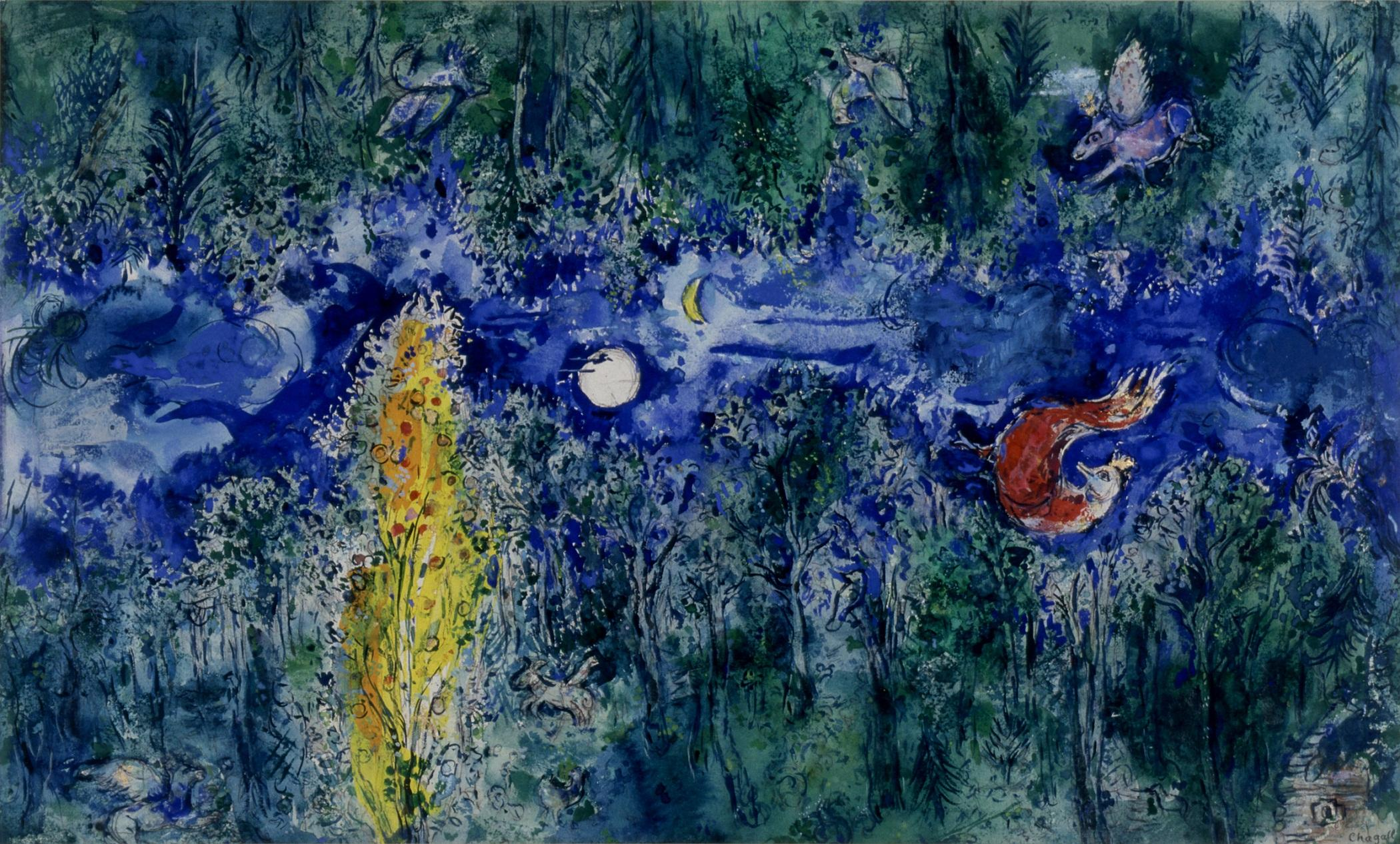 Model for the curtain in the first act of The Firebird by Stravinsky- The Enchanted Forest 1945. Marc Chagall