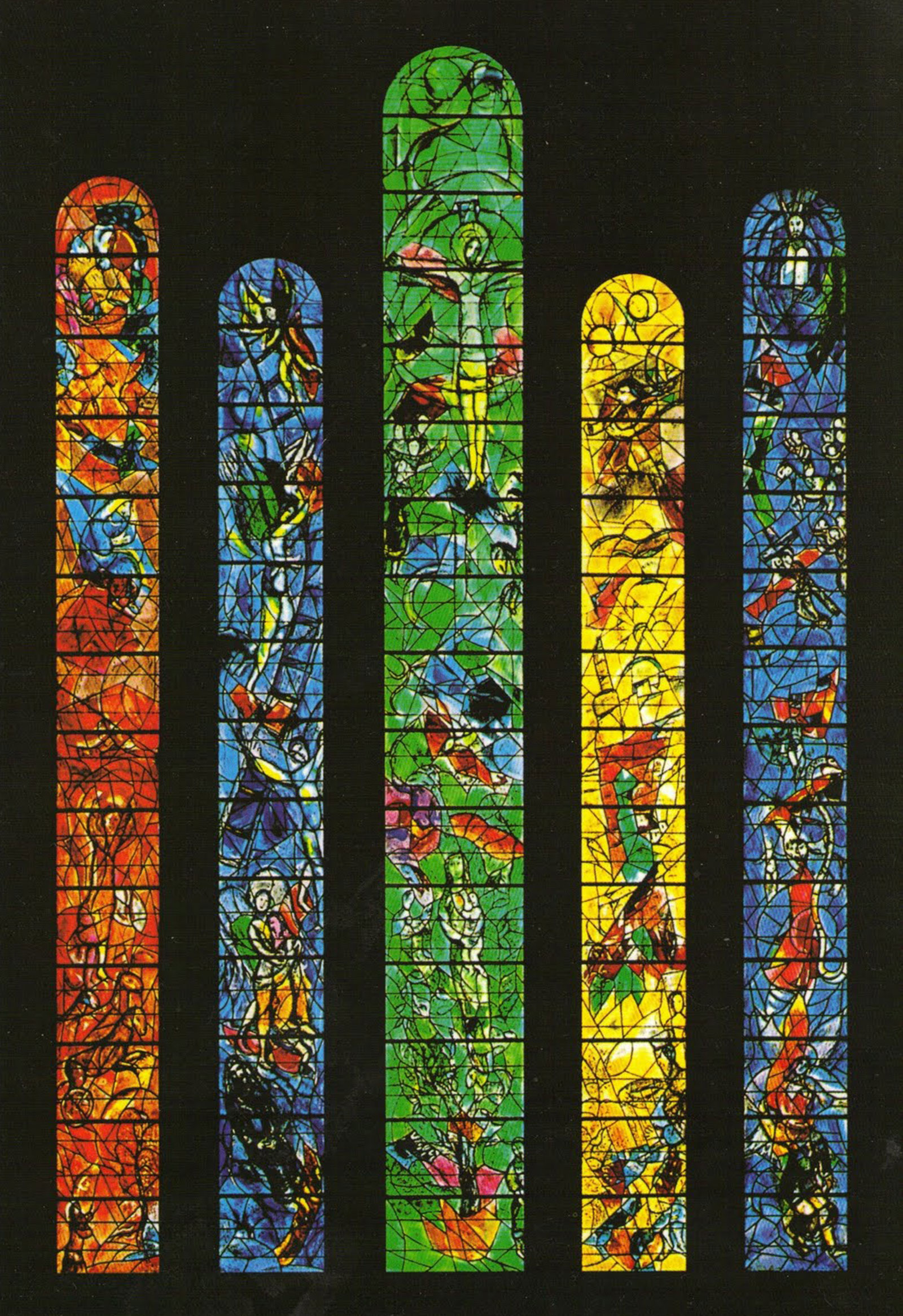 Stained-glass windows of the church choir of St. Stephen, Germany