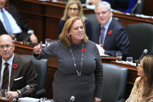 RENE JOHNSTON/GETTY IMAGES Social Services Minister Lisa MacLeod speaks at Queen's Park in Toronto on Oct. 30, 2018.