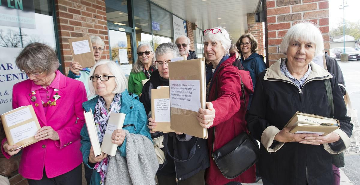 A group of about 15 book club members and former librarians planned a Tuesday read-in at the constituency office of Niagara West MPP Sam Oosterhoff about proposed cuts to library services. The MPP was not in the office but police were called in for control of the protestors who wanted to leave letters with him.